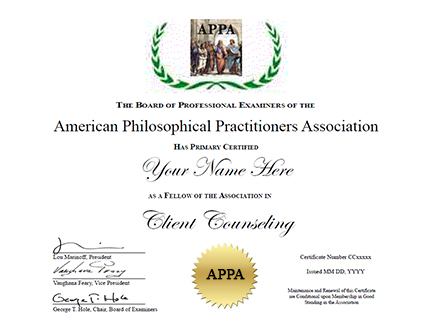 Certificate Program in Client Counseling, Affiliate Balance - APPA